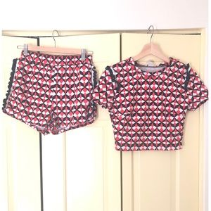 Cute Geometric Print Shorts Co-ord Set